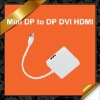 3 in 1 Mini DisplayPort DP to DP HDMI DVI Adapter Combo Cable for Apple MacBook KCA031