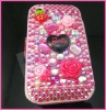 3D Rose Bling Flip Hard leather cover Case for iPhone 3G 3GS Pink