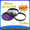 55mm UV+FLD+CPL For Canon & Nikon & Sony