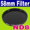 58 mm Neutral Density ND 8 ND8 Glass Filter + Case Camera Lens Filter