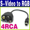 Adapter HDTV 9 Pin to 4 Pin S-Video RCA RGB Video Cable