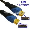 Blue Color 1.8m 1.4 Version HDMI to HDMI 3D 19Pin Cable