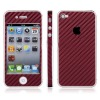 Carbon Skin Sticker for iPhone 4 (Dark red)  accept paypal