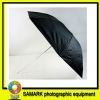 The silver reflective umbrella folded in the black