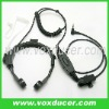 with 360 degrees stainless clip/replaceable clear tube/handsfree push to talk button for walkie talkie,ptt plug cable Mic